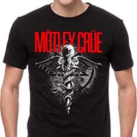 Motley Crue- Dr. Feelgood (Red & White Print) on a black shirt