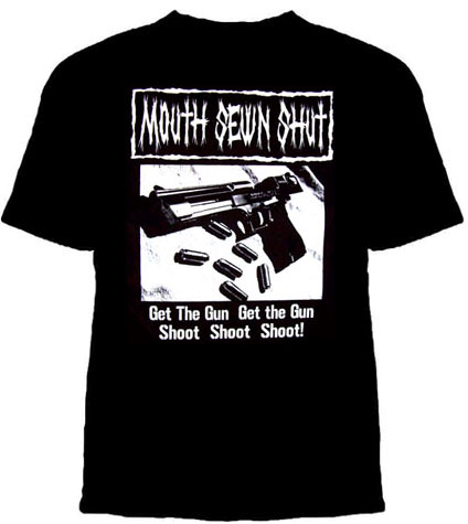 Mouth Sewn Shut- Get The Gun on a black YOUTH SIZED shirt (Sale price!)