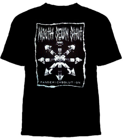 Mouth Sewn Shut- Pandemic Solution on a black YOUTH SIZED shirt (Sale shirt!)