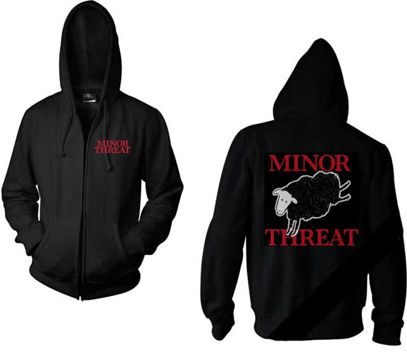 Minor Threat- Logo on front  Sheep on back on a black zip up hooded    Minor Threat Logo
