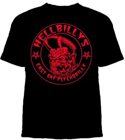 Hellbillys- East Bay Psychobilly on a black shirt (Sale price!)