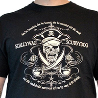 Lucky Mule Brand- Scallywag Scurvydog on a black shirt (Sale price!)
