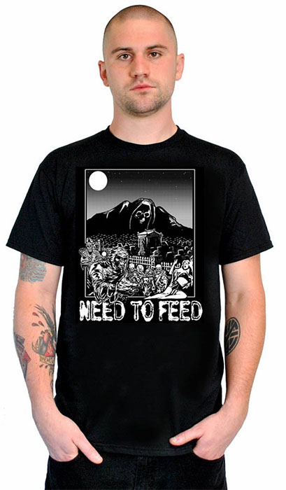 Mule Brand- Need To Feed (Zombies) on a black shirt (Sale price!)