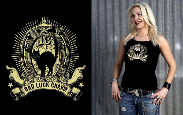 Lucky Mule Brand- Bad Luck Charm on a black spaghetti strap girls shirt (Sale price!)