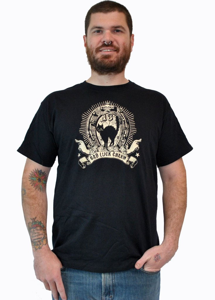 Lucky Mule Brand- Bad Luck Charm on a black shirt (Sale price!)