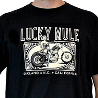 Lucky Mule Brand- Pin Up On Motorcycle on a black shirt (Sale price!)