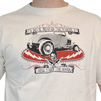 Lucky Mule Brand- A Devil Behind The Wheel, Hell Under The Hood on a natural colored shirt (Sale price!)