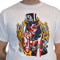 Lucky Mule Brand- Devil Girl With Tophat on a white shirt (Sale price!)