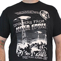 Lucky Mule Brand- Invaders From Outer Space on a black shirt - SALE sz S only