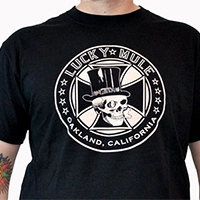 Lucky Mule Brand- Lucky Cad (Tophat & Iron Cross) on a black shirt (Sale price!)