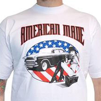 Lucky Mule Brand- American Made on a white shirt (Sale price!)