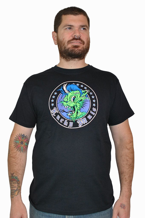 Lucky Mule Brand- Zombie Cat on a black shirt (Sale price!)