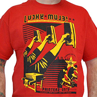 Lucky Mule Brand- Printers Unite on a red shirt (Sale price!)
