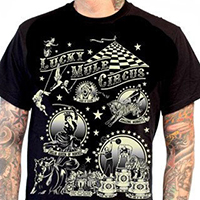 Lucky Mule Brand- Lucky Mule Circus on a black shirt (Sale price!)