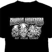 Lucky Mule Brand- Famous Monsters Of Film Land on a black shirt (Sale price!)