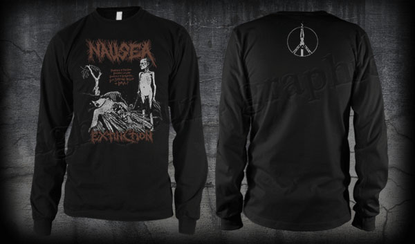 Nausea- Extinction on front, Crucifix on back on a black LONG SLEEVE shirt