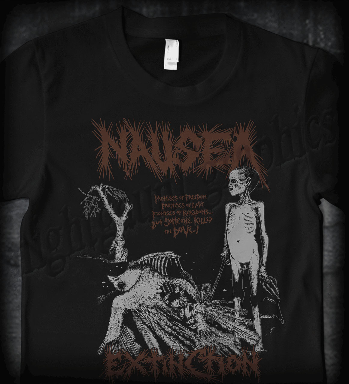 Nausea- Extinction on front, Crucifix on back on a black shirt