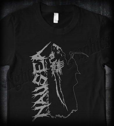 Nausea- Grim Reaper on front, Crucifix on back on a black shirt