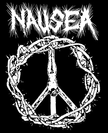 Nausea- Crucifix on a black hooded sweatshirt