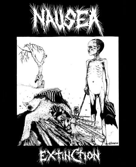 Nausea- Extinction on a black shirt