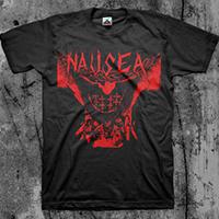 Nausea- Jesus (Red Print) on a black shirt