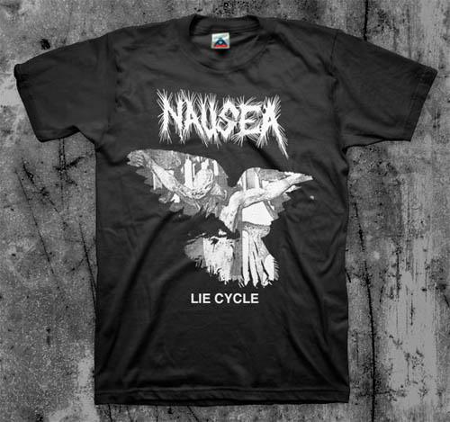 Nausea- Lie Cycle on a black shirt