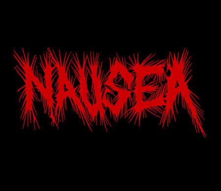 Nausea- Logo on a black hooded sweatshirt