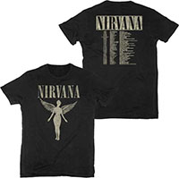 Nirvana- In Utero on front, Tour Dates on back on a black ringspun cotton shirt