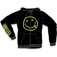 Nirvana- Smiley Face on front, Logo on sleeve on a black zip up hooded sweatshirt