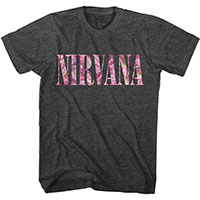 Nirvana- Floral Logo on a dark heather grey shirt