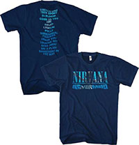 Nirvana- Nevermind on front, Songs on back on a navy ringspun cotton shirt