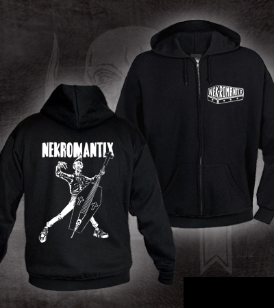 Nekromantix- Logo on front, Coffin Bass Is Cool on back on a black hooded sweatshirt