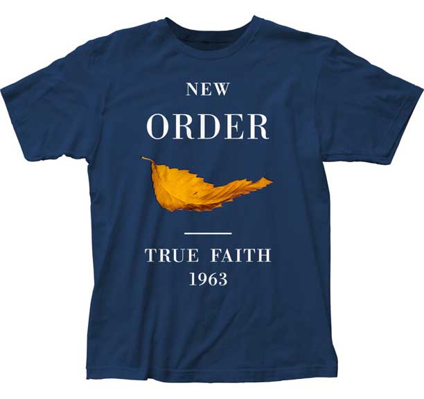 New Order- True Faith on a blue ringspun cotton shirt