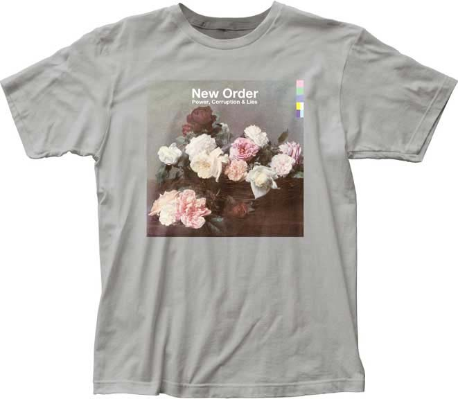New Order- Power Corruption & Lies on a silver ringspun cotton shirt