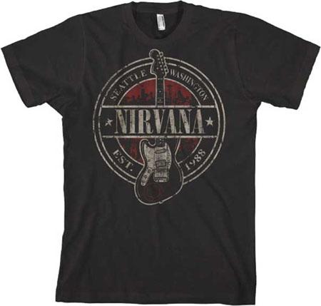 Nirvana- Est 1988 on a black shirt