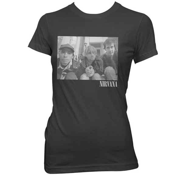 Nirvana- Band On Stairs on a black girls fitted shirt