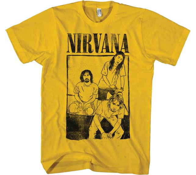 Nirvana- Band Drawing on a gold ringspun cotton shirt
