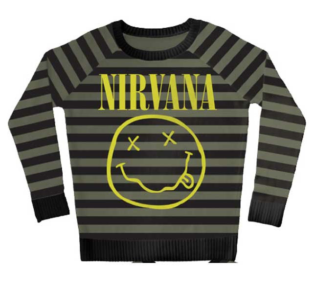 Nirvana- Smiley Face on a green & black striped sweater