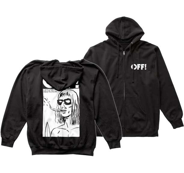 Off!- Logo on front, I Wish Every Boy Was Like My Surfer Boyfriend on back on a black zip up hooded sweatshirt