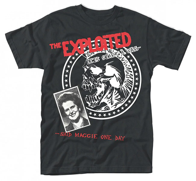Exploited- Let's Start A War Said Maggie One Day on a black ringspun cotton shirt (UK Import!)