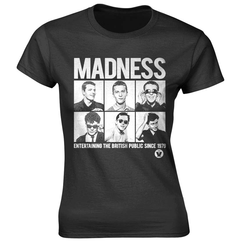 Madness- Entertaining The British Public Since 1979 on a black ringspun cotton shirt (UK Import!)