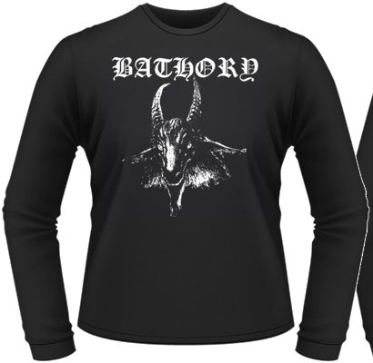 Bathory- Goat on front, Pentagram on back on a black long sleeve shirt (UK Import!)