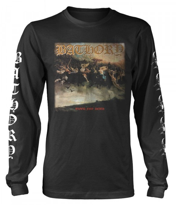 Bathory- Blood Fire Death on front, Songs on back, Logo & Goats on sleeves on a black long sleeve ringspun cotton shirt (UK Import!)