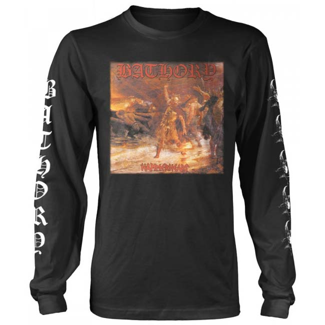 Bathory- Hammerheart on front, Songs on back, Logo & Goats on sleeves on a black long sleeve ringspun cotton shirt (UK Import!)