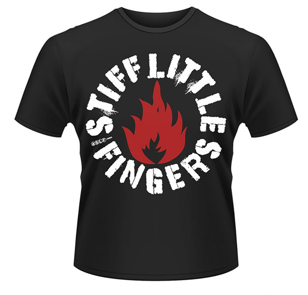 Stiff Little Fingers- Flame on a black ringspun cotton shirt (UK Import!)