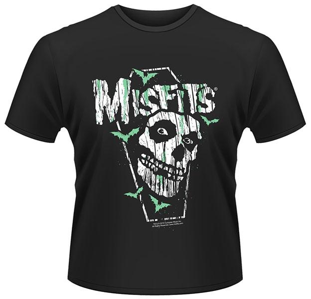 Misfits- Coffin, Skull & Bats on a black ringspun cotton shirt (UK Import!)