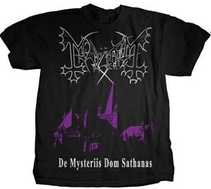 Mayhem- De Mysteriis Dom Sathanas (Church) on front, Faces on back on a black shirt