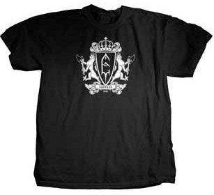Emperor- Crest on front, Band Pic on back on a black shirt