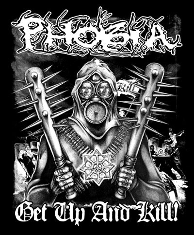 Phobia- Get Up And Kill on a black hooded sweatshirt