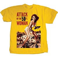 Attack Of The 50 Foot Woman- Movie Poster on a yellow shirt
